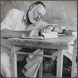 Hemingway at writing desk