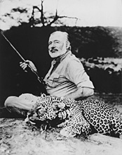Hemingway with downed leopard