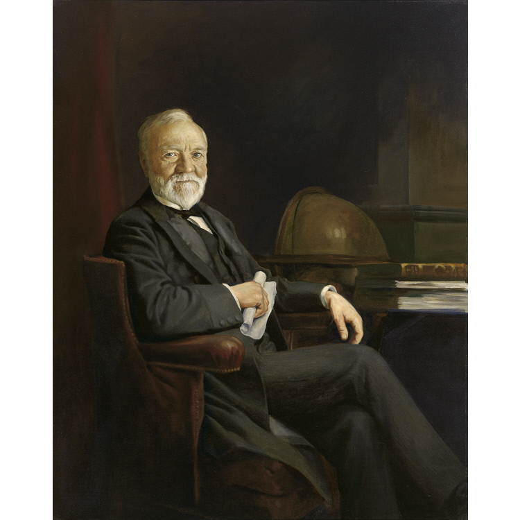 Portrait of Philanthropist Andrew Carnegie that is at the National Portrait Gallery, Washington, D.C
