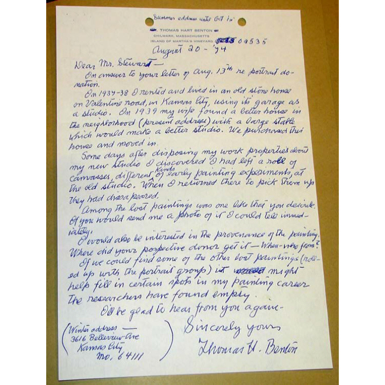 Letter from Thomas Hart Benton to Robert Stewart