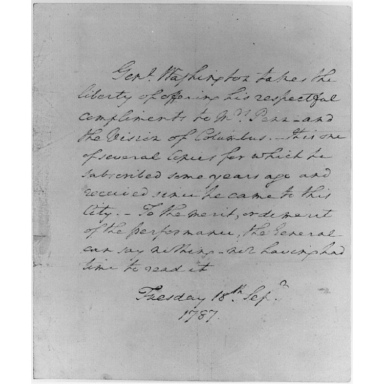 """Letter from George Washington to Mrs. Penn regarding """"The Vision of Columbus"""""""