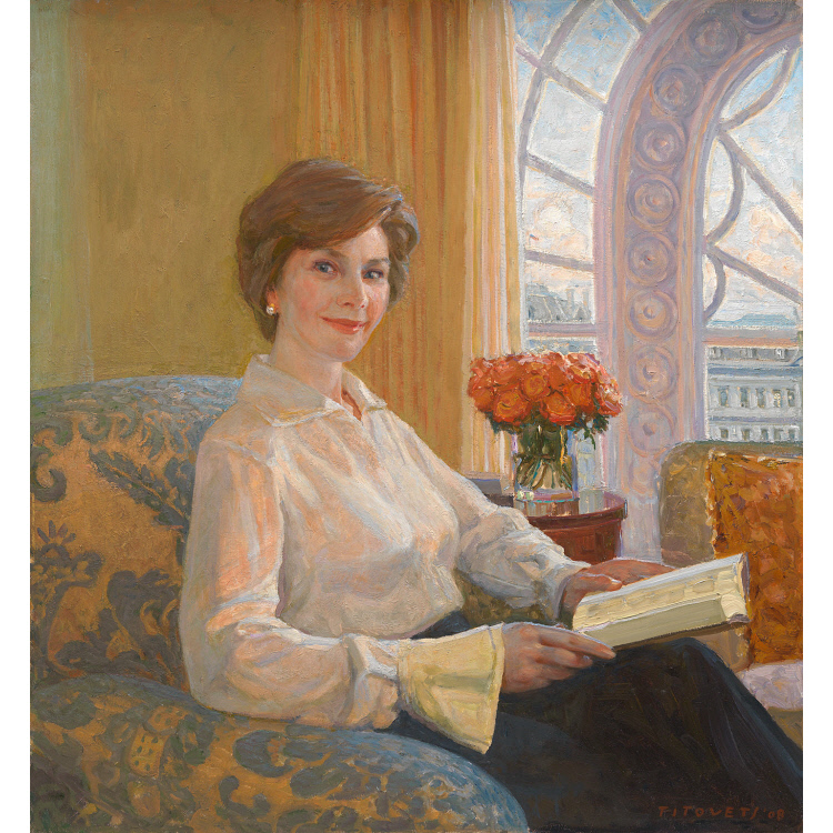 Laura Bush Official US First Lady Portrait American Painting Art Canvas Print