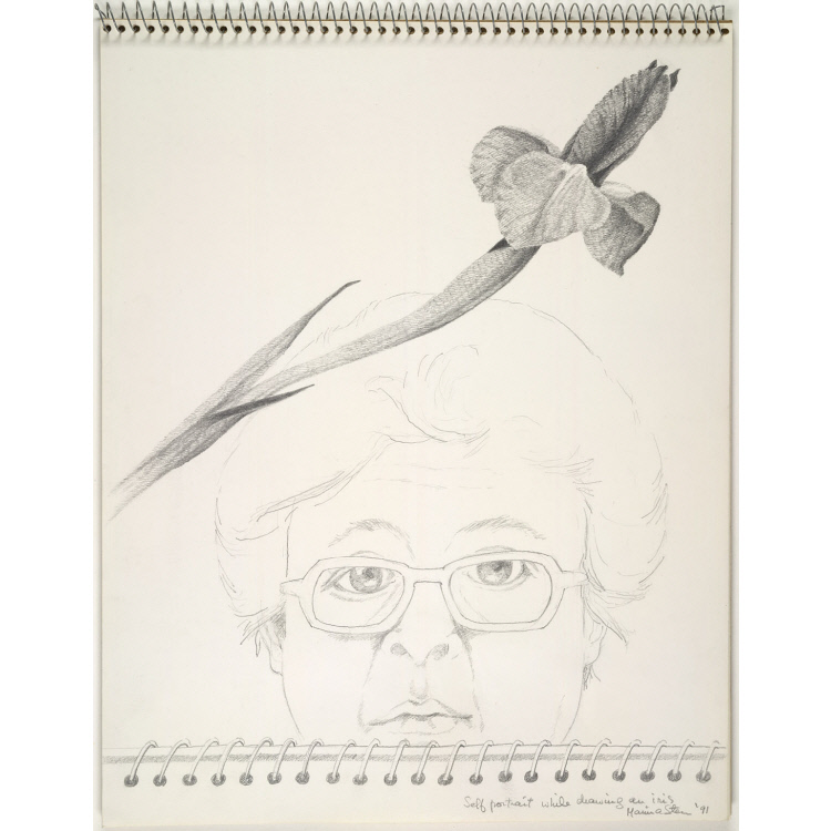 Self-Portrait while Drawing an Iris