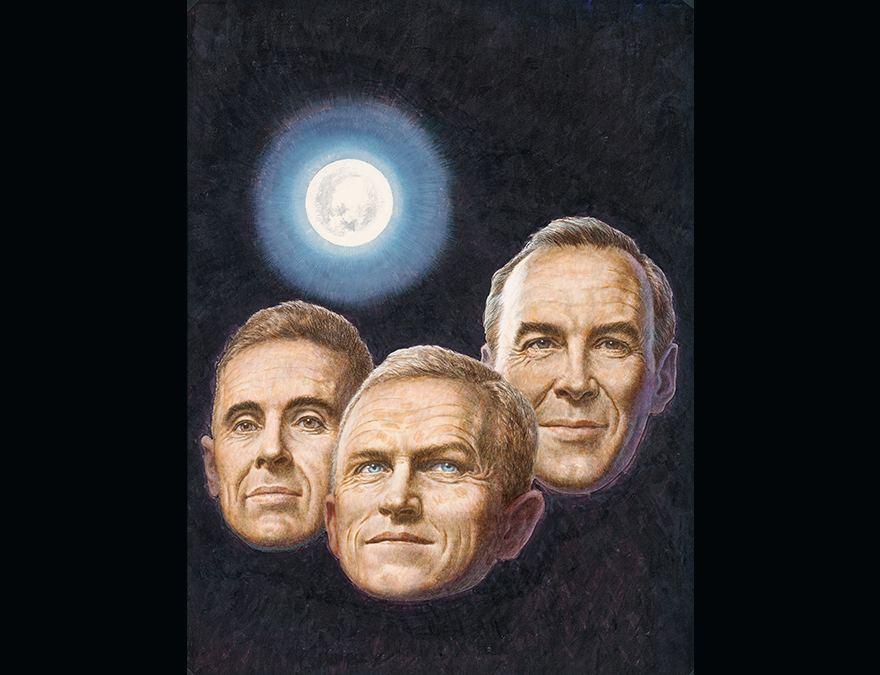 Heads of three men (astronauts) against a black background with the moon behind them