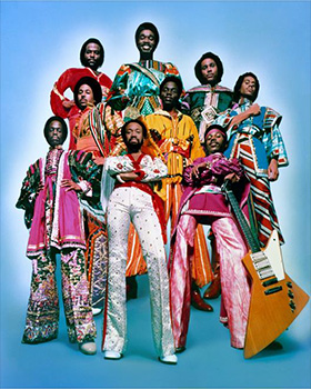 the band  in colorful costumes