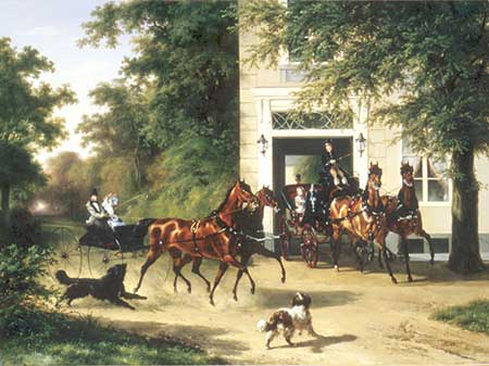 Painting of horses pulling carriages