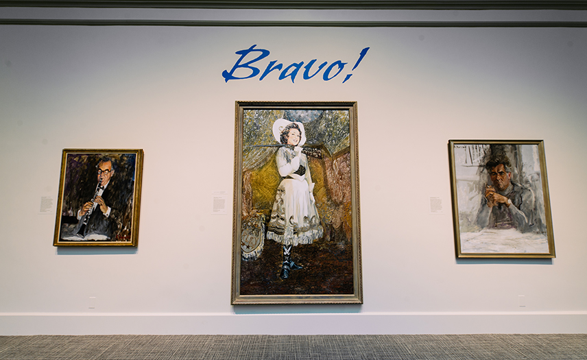 Bravo! Exhibition, portraits on the wall