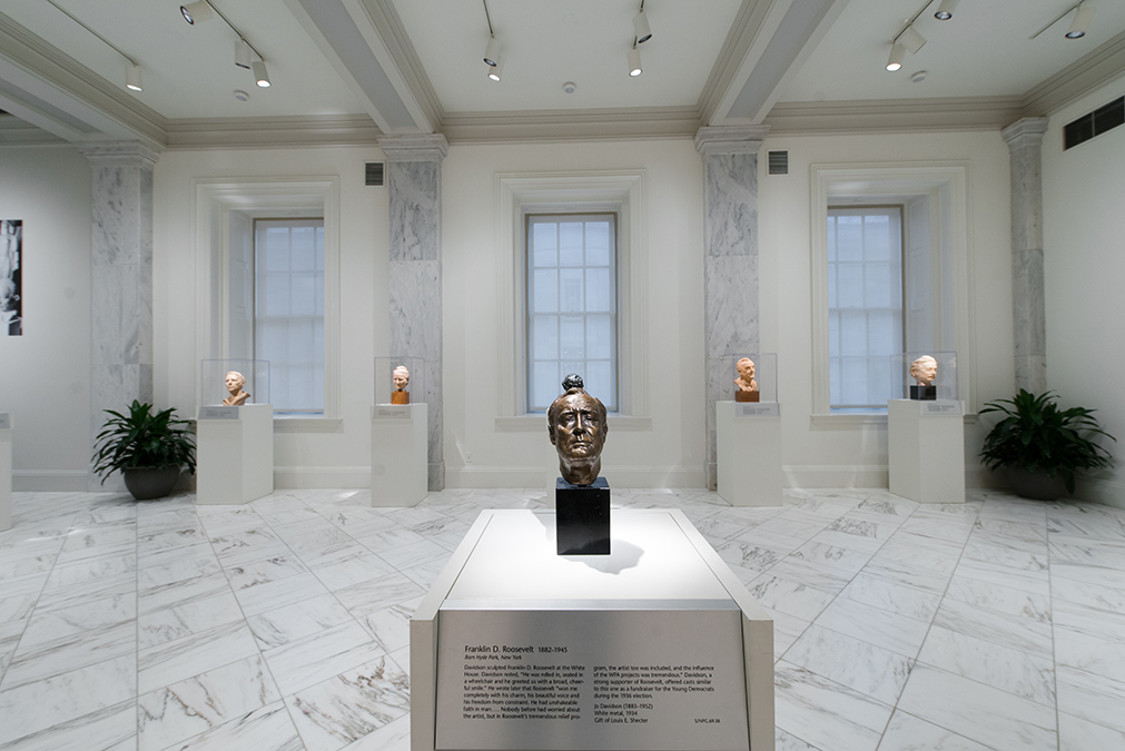 View of the exhibition, three bronze busts