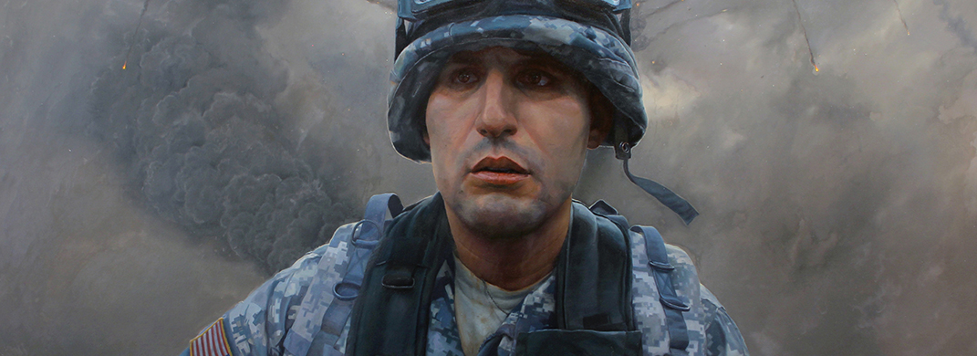 Painting of a young soldier in helmet and fatigues in the midst of battle