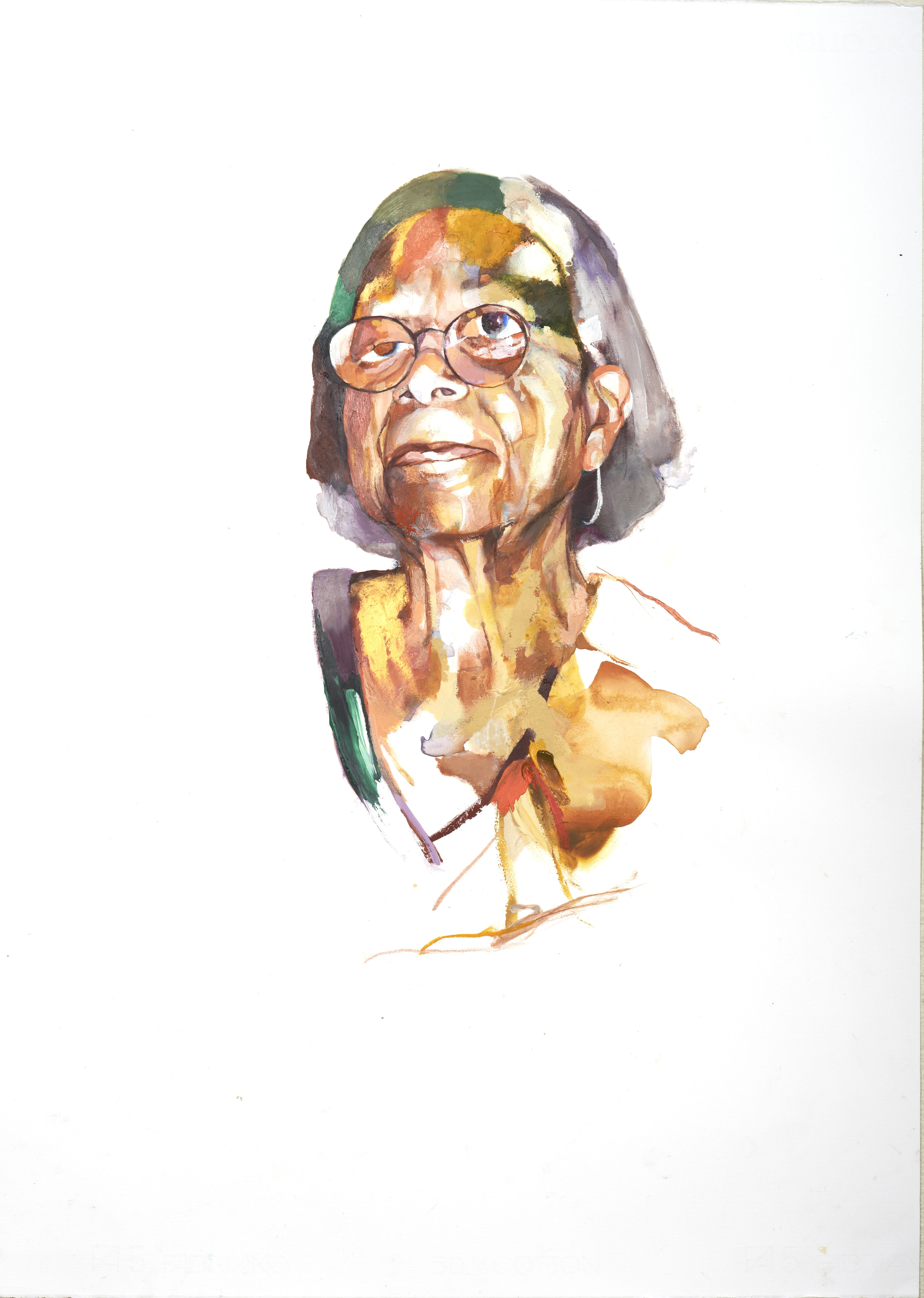 A watercolor painting of a woman wearing glasses