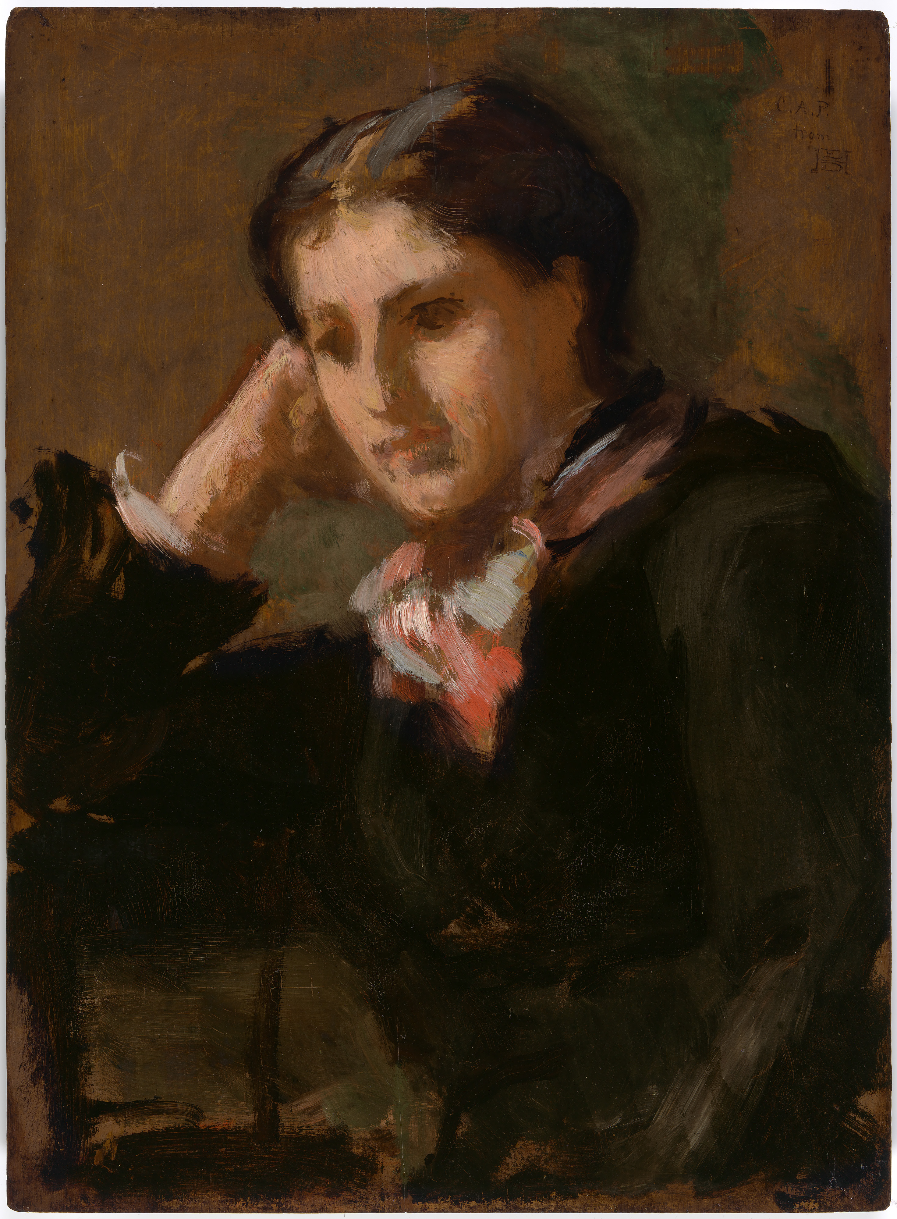 Painterly portrait of a woman looking away from the viewer