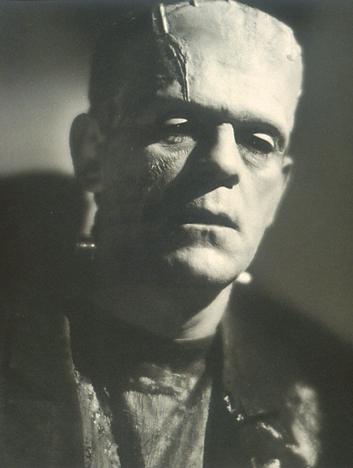 A black and white photo of Frankenstein