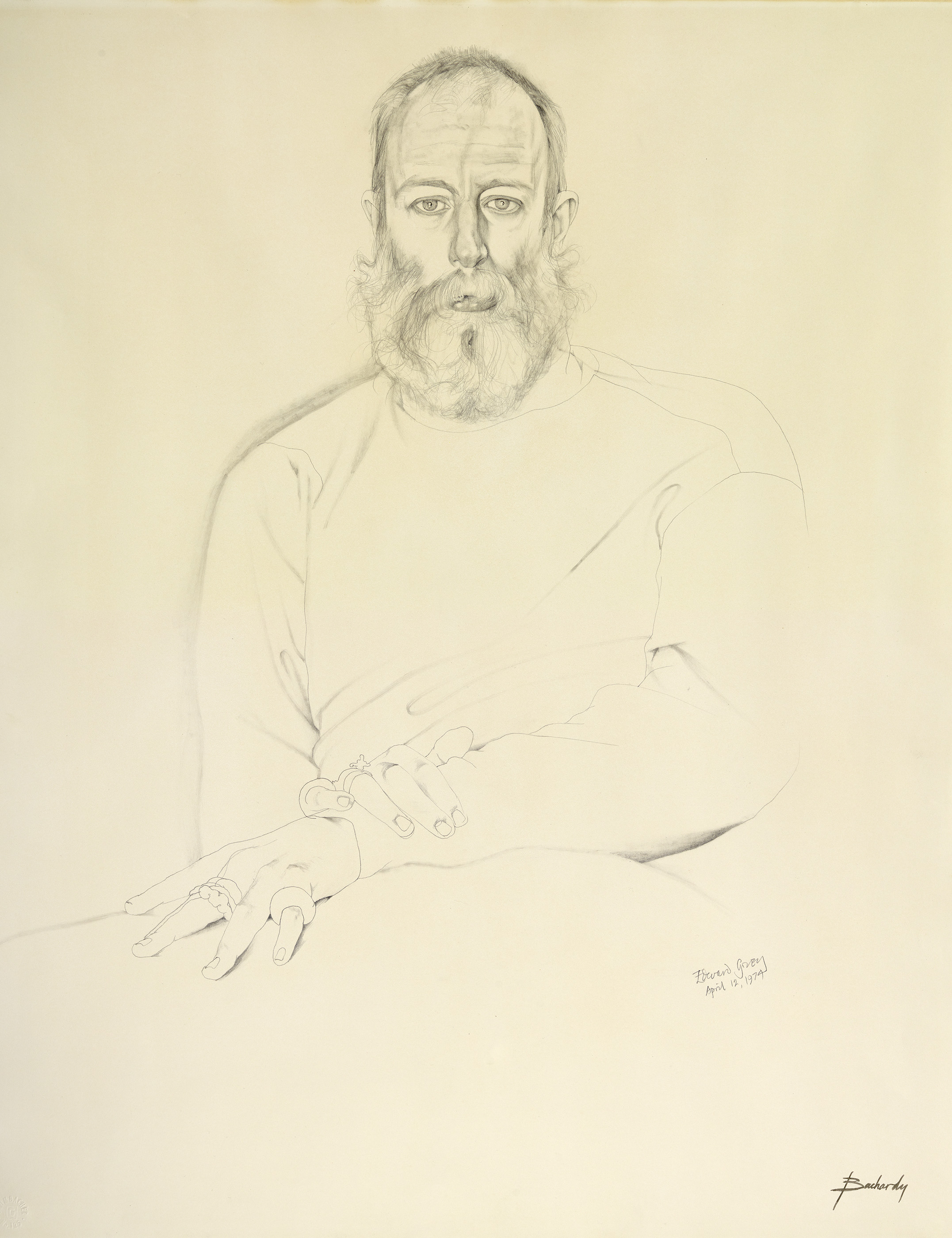Drawing of a man with a very bushy beard
