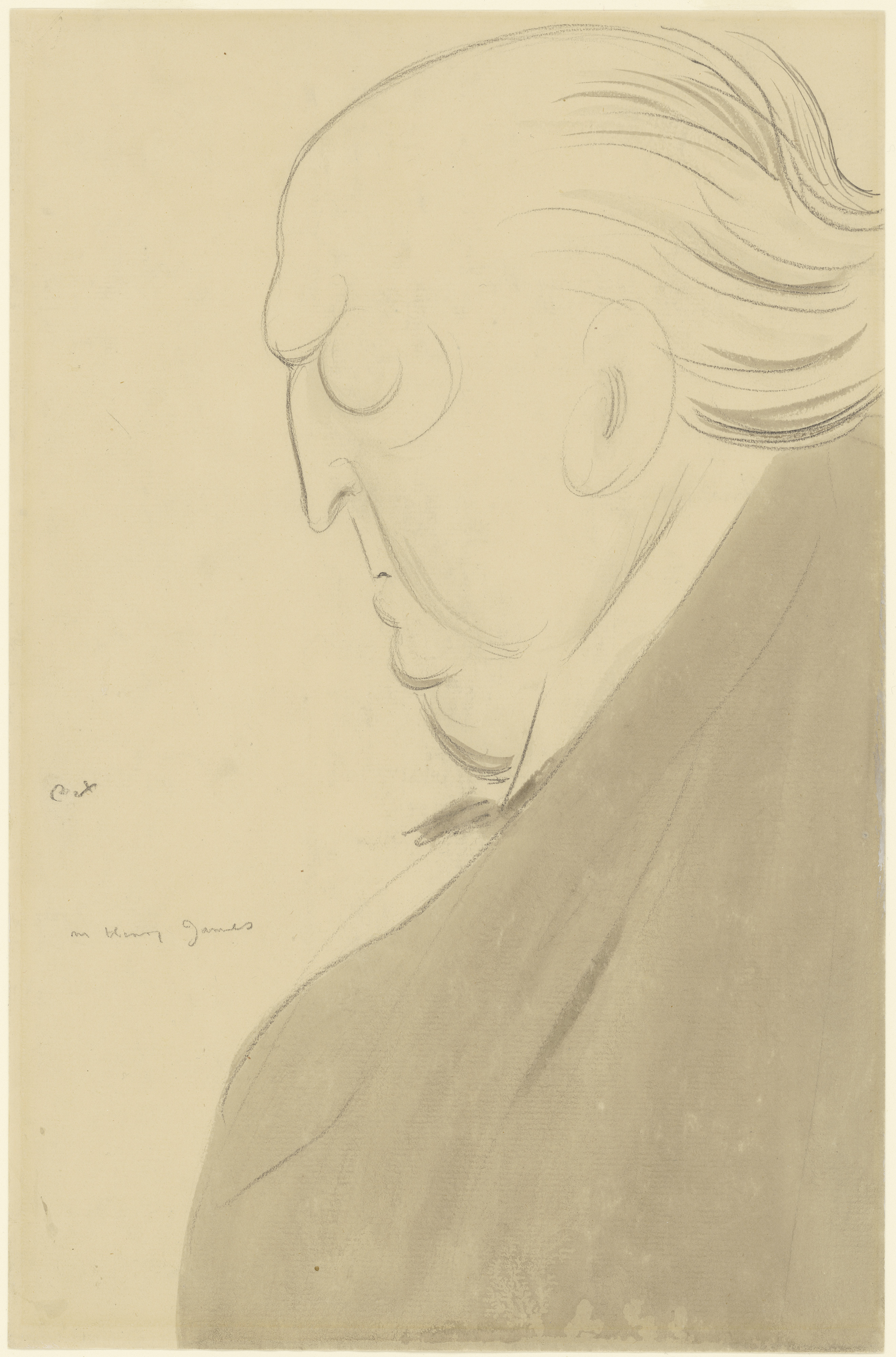Drawing of an large old man in profile