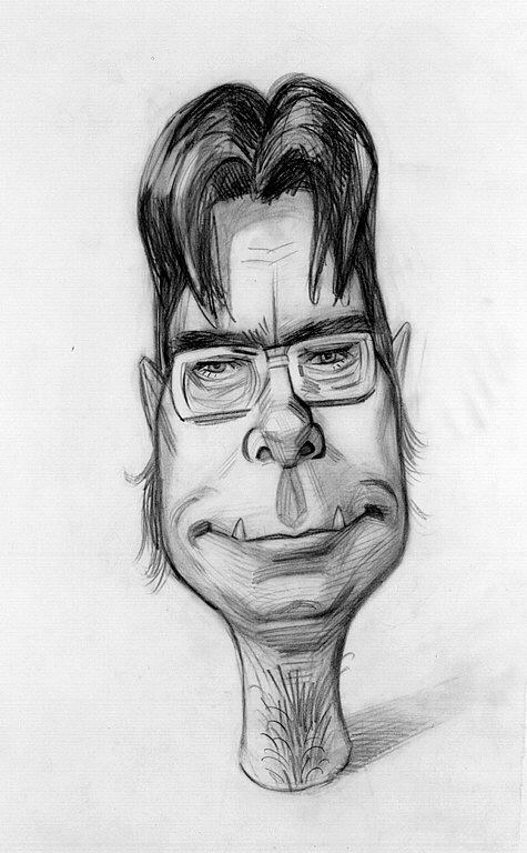 Caricature of a  young man wearing glasses