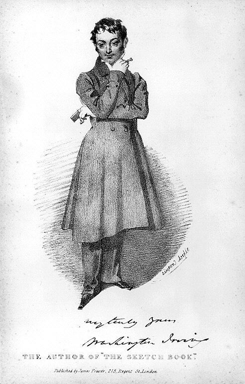 Full-length drawing of a man looking away from the viewer and wearing an overcoat