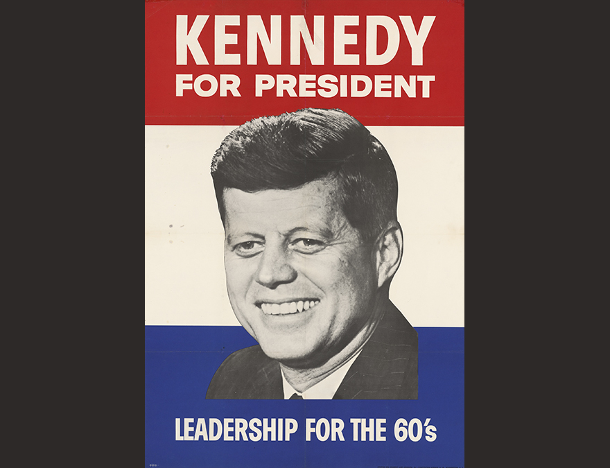 Red, white and blue poster with face of a man (JFK) in the center