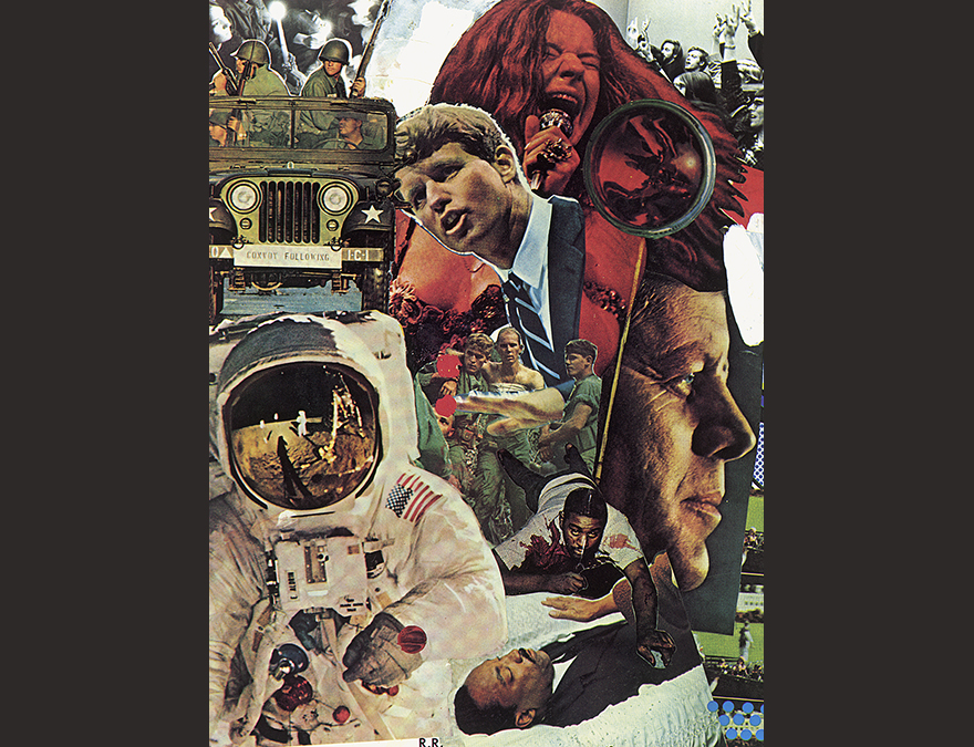 Collage of an astronaut, two men, a woman with long hair and other elements of the 1960s