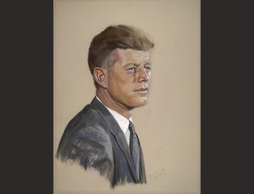 Portrait in pastels of a young man (JFK)