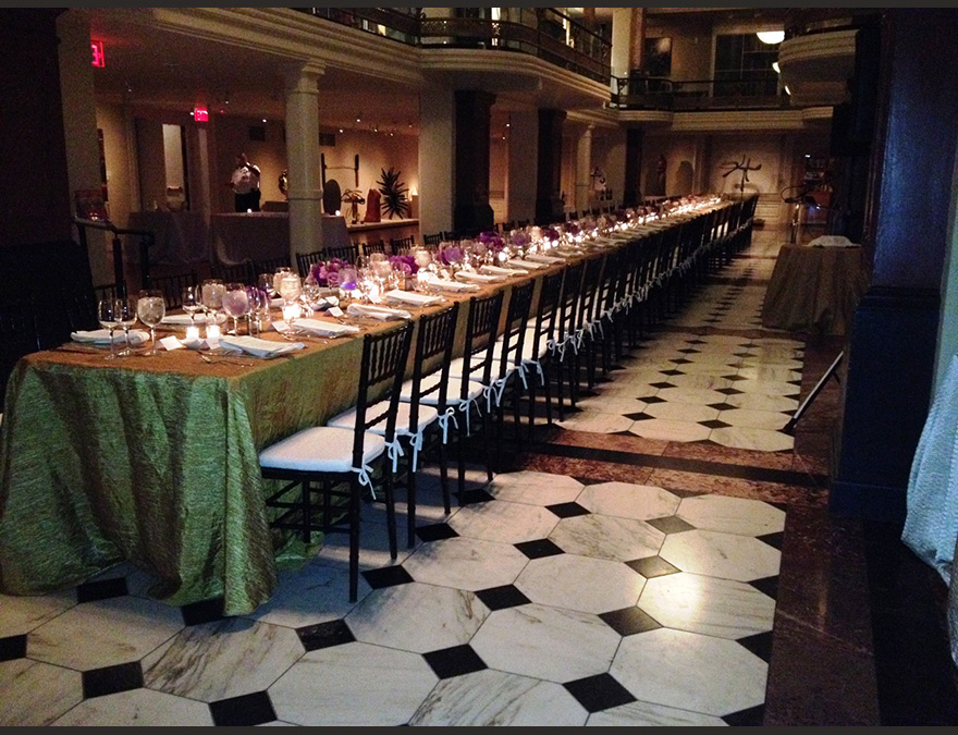 Formal table setting, one long table