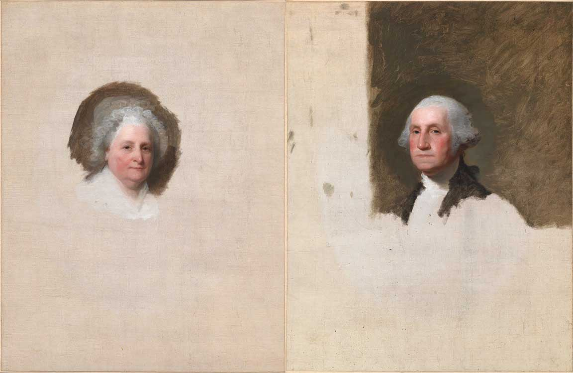 Two incomplete paintings, one of a woman's face and one of a man's face