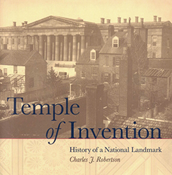"Book cover of ""Temple of Invention"" with black and white photo of old Patent Office Building"