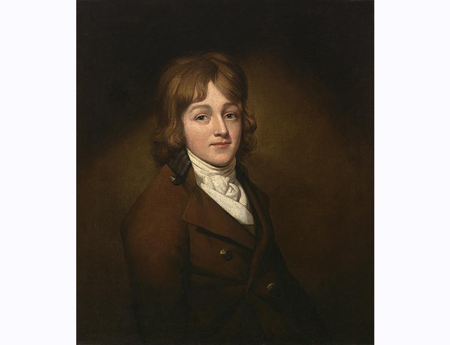 painting of a young man from the 18th century with brown hair, white cravat and brown jacket