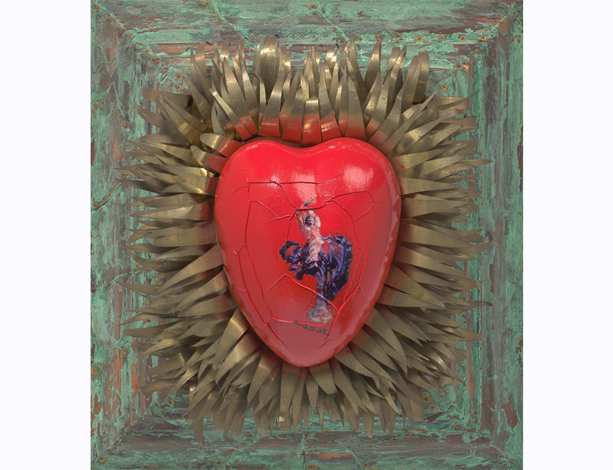 Red ceramic heart. Recto shows the full-length image of an elderly man. Verso shows the full-length image of an adult man in a cowboy hat who sits on a horse