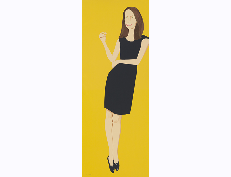 Tall vertical portrait of a dark-haired wonan in a black dress agains a yellow background