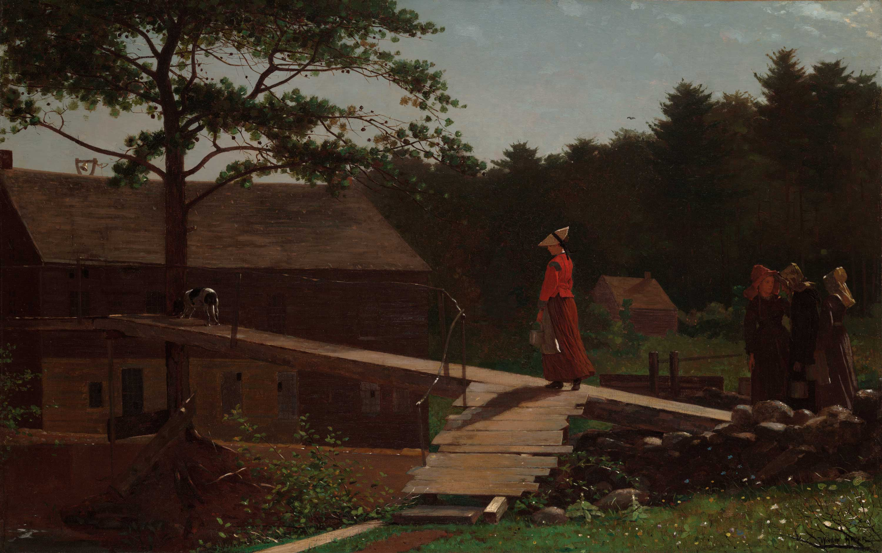 Painting of a woman in a red dress walking across a bridge