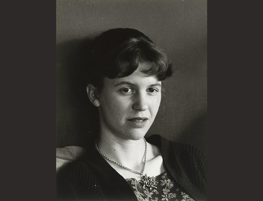 Black and white photo of Sylvia Plath