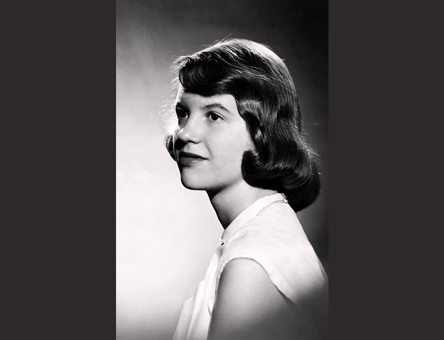 Black and white photo of a young Sylvia Plath