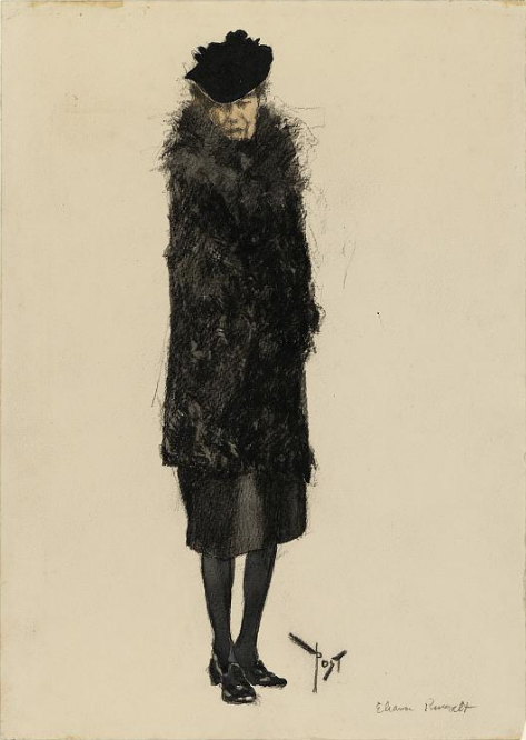 Full-length drawing of Eleanor Roosevelt in black
