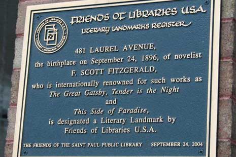 Plaque marking birthplace of F. Scott Fitzgerald at 481 Laurel Avenue, St. Paul, MN