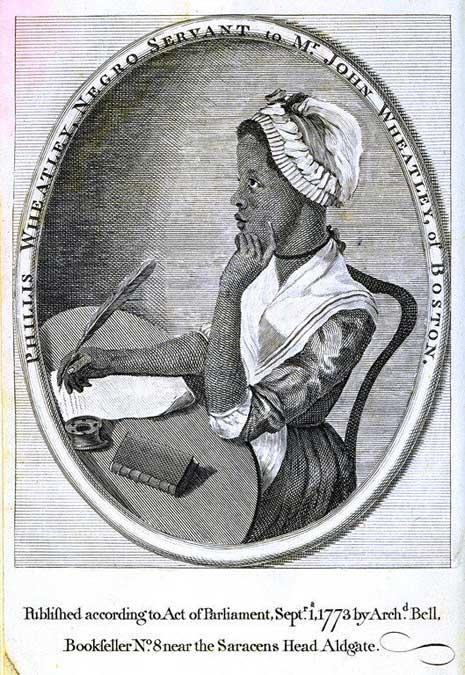 Printed engraving of Phillis Wheatley, seated at a desk writing with quill on parchment, from left.
