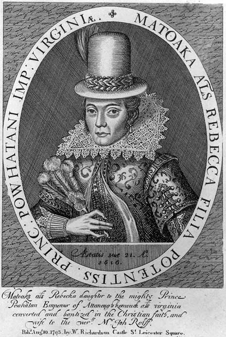 Black and white engraved print of Pocahontas in British clothing, her image framed in an oval window with supporting text.