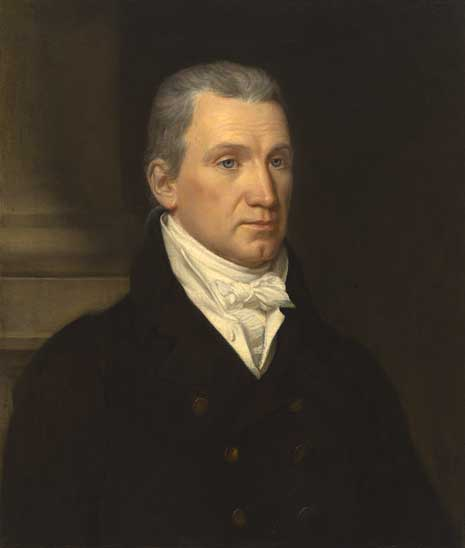 Painting from the chest up of James Monroe in a dark suit, in front of a pillar.