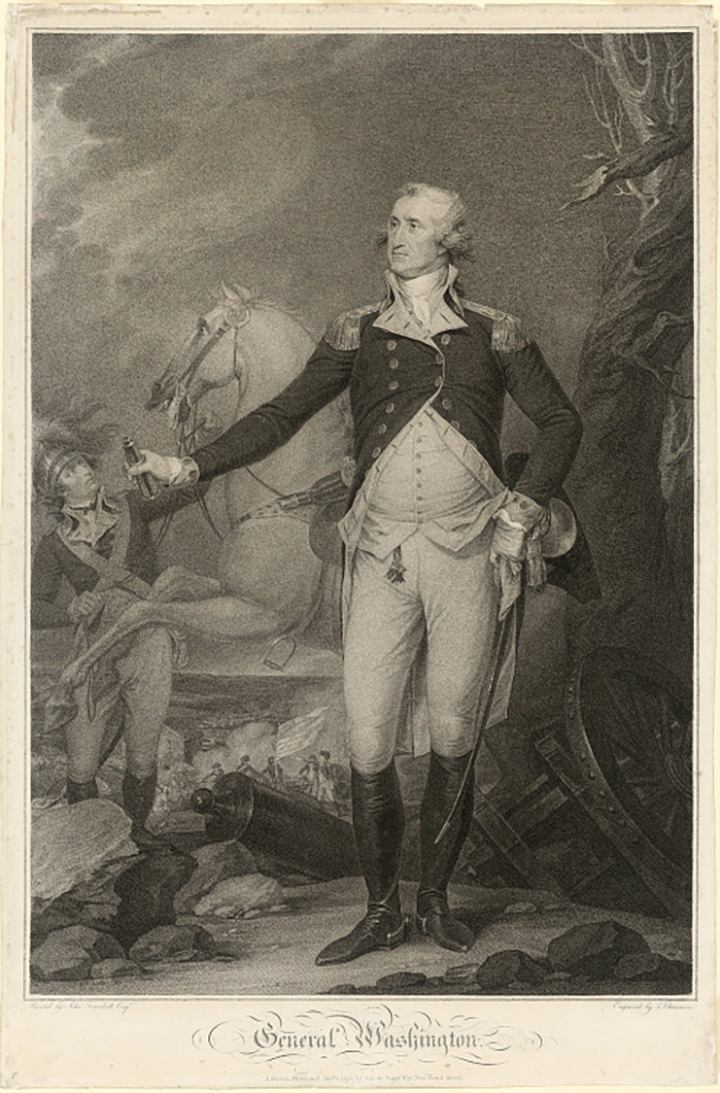 Black and white print of a man in uniform