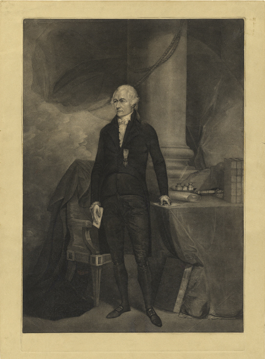Black and white print of an 18th century man