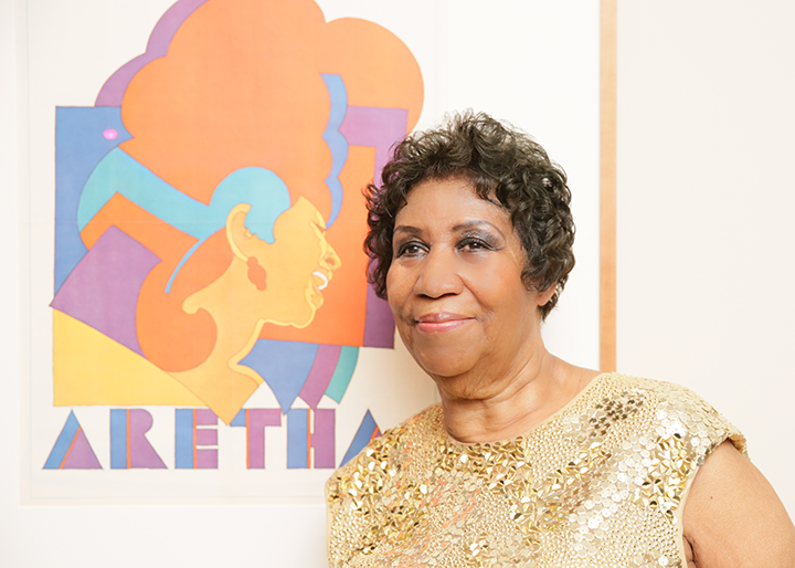Aretha Franklin with her Portrait_Courtesy of Angela Pham BFA