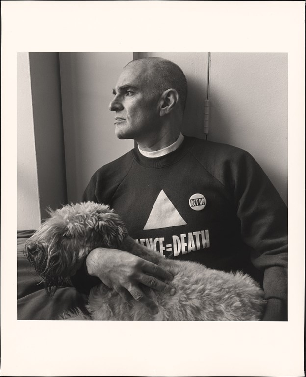Larry Kramer and Molly his dog