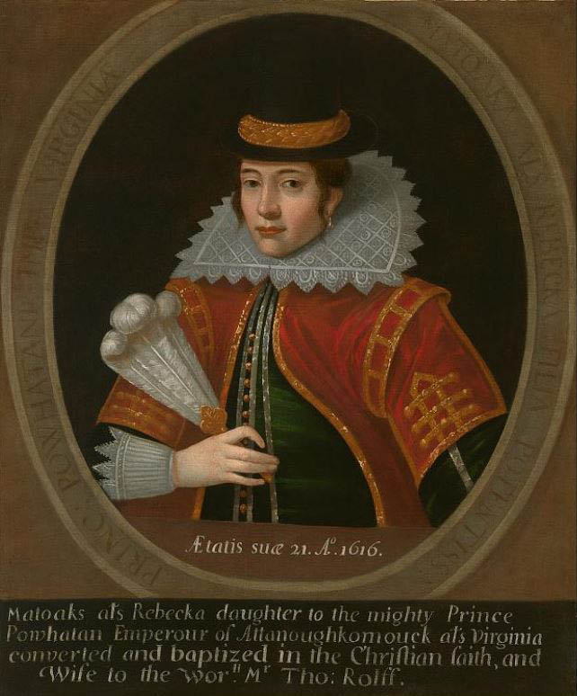 Painted portrait of Pocahontas
