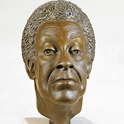 Bronze bust of a woman