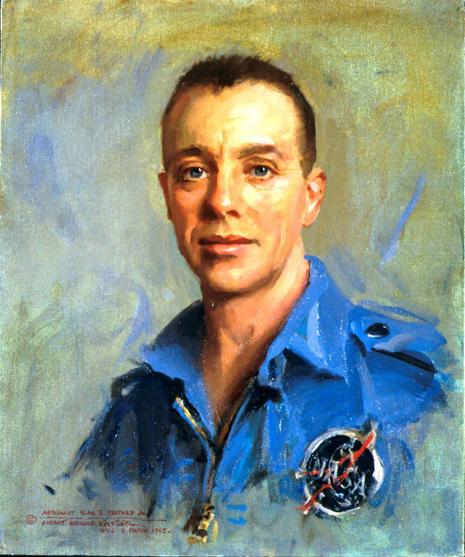 Painted portrait of Alan Bartlett Shepard, Jr. in astronaut uniform