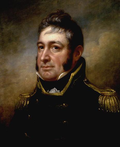 Painted portrait of William Bainbridge, in uniform, dark hair and long side-burns