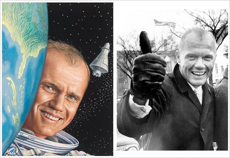 On left: painted portrait of John Glenn, on right: black and white photo of John Glenn'