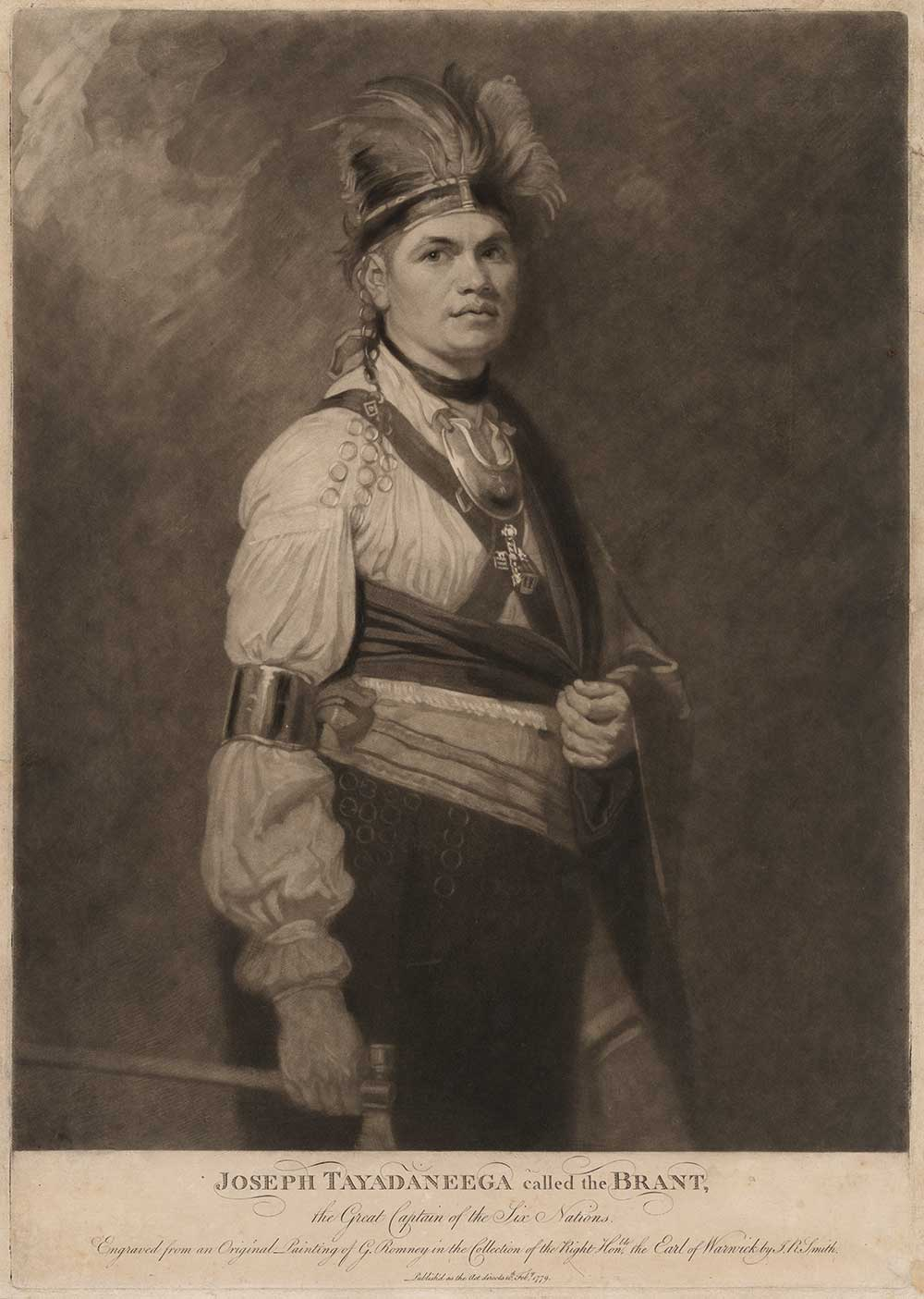 Black and white illustration of American Indian man wearing a fanciful style of dress that is neither Anglo-American nor American Indian, but rather a hodgepodge reflecting intercultural exchange
