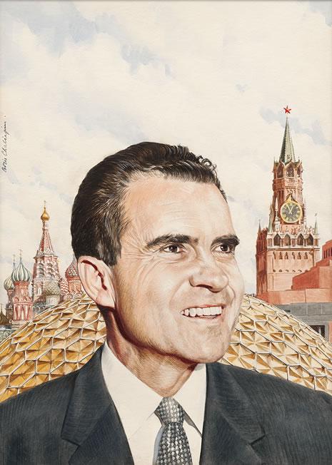 Painted portrait of Richard Nixon in Soviet Union
