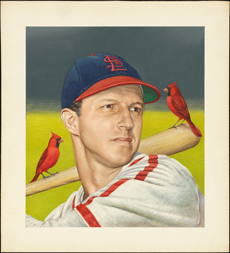 Painted portrait of Stan Musial, in uniform, with two cardinal perching on his bat