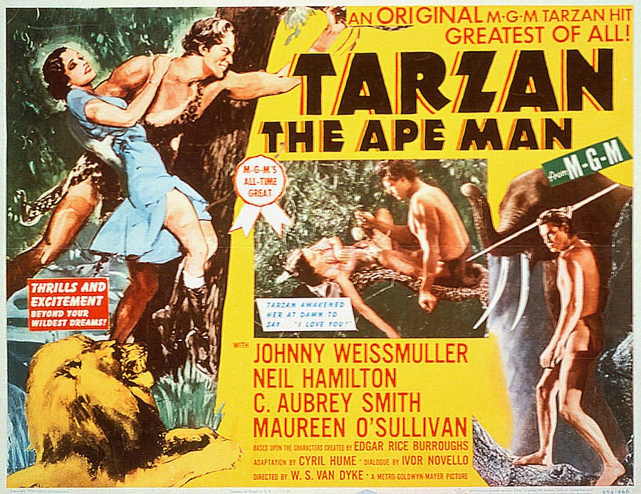 """Poster for """"Tarzan the Ape Man"""" starring Johnny Weissmuller"""